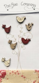 6 boutons oiseaux assortis Bee Cie TB26R