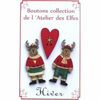 Boutons Les rennes et le coeur Atelier des Elfes