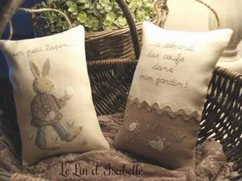 Coussin Lapin de Pâques, Le Lin d'Isabelle