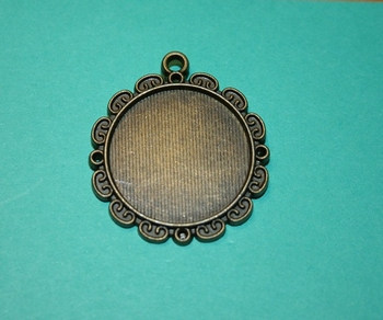 Support pendentif bronze cabochon rond 25 mm