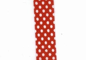 Biais plié Pois blancs sur fond rouge
