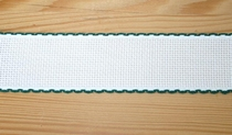 Bande Aïda 5 cm Blanc Liseré Vert  par 50 cm