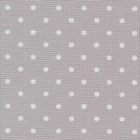 Aîda coton gris pois blancs 8 pts/cm