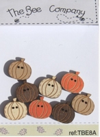 Boutons 8 mini citrouilles Bee Cie TBE8A
