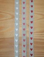Ruban Coeurs tissés sur lin par 50 cm