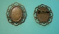 Support broche bronze cabochon 18x25 mm