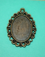Support pendentif bronze cabochon ovale 18x25 mm